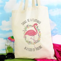 Personalised Flamingo Cotton Bag (P0510F68) - Direct Dispatch