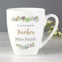 Personalised Floral Watercolour Latte Mug (P0306L23) - Direct Dispatch