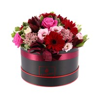 Pink & Burgundy Hat Box Valentine's Day Arrangement - Large