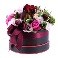 Pink & Burgundy Hat Box Valentine's Day Arrangement - Small