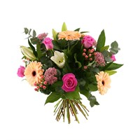 Pink & Peach Hand Tied Valentine's Day Bouquet
