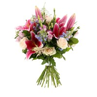 Pink, Lilac & Blue Handtied Bouquet - Deluxe