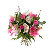 Pink Lilies, Roses & Orchids Hand Tied Valentine's Day Bouquet