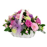 Pink Mother's Day Flowers Basket