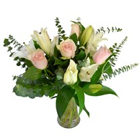 White Lilies & Pink Roses Cut Flower Handtied Bouquet