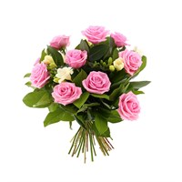 Pink Roses & White Freesias Hand Tied Valentine's Day Bouquet