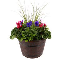 Planted Barrel Seasonal 12 inches Outdoor Planter Bedding Container - Autumn