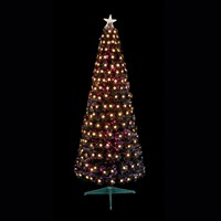 Premier 1.2m Slim Black Multi Colour Fibre Optic Artificial Christmas Tree with White LED Stars (FT178506)