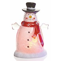 Premier 10cm Acrylic Christmas Snowman with LEDs - Red (LB141351)