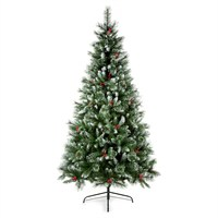 Premier 2.1m Sugar Pine Iced Tipped Christmas Tree with Berries & Cones (TR700SUP)