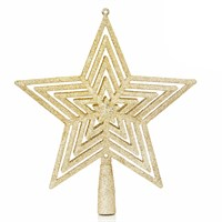 Premier 23cm Glitter Christmas Tree Top - Gold (AC195472)