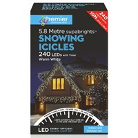 Premier 240 LED Snowing Icicles With Supabrights - Warm White (LV162182WW) Christmas Lights