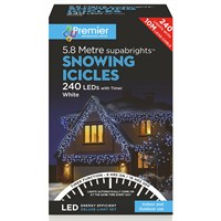Premier 240 LED Snowing Icicles With Supabrights - White (LV162182W) Christmas Lights