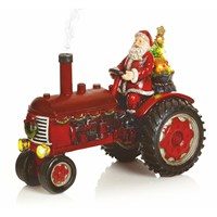 Premier 29cm Lit Christmas Tractor With Santa And Smoking Exhaust (LB171019)