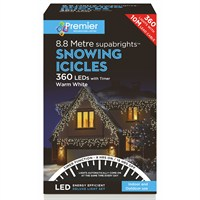 Premier 360 LED Snowing Icicles With Supabrights - Warm White (LV162183WW) Christmas Lights