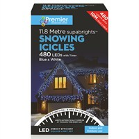 Premier 480 LED Snowing Icicles With Supabrights - Blue & White (LV162184BW) Christmas Lights