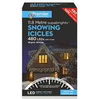 Premier 480 LED Snowing Icicles With Supabrights - Warm White (LV162184WW) Christmas Lights