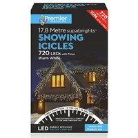 Premier 720 LED Snowing Icicles With Supabrights - Warm White (LV162185WW) Christmas Lights