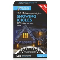 Premier 720 LED Snowing Icicles With Supabrights - White (LV162185W) Christmas Lights