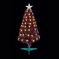 Premier 80cm Slim Black Multi Colour Fibre Optic Christmas Tree with White LED Stars (FT178505)