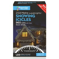 Premier 960 LED Snowing Icicles With Supabrights - Warm White (LV162186WW) Christmas Lights