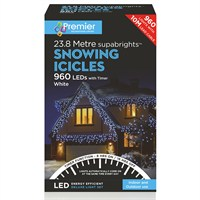 Premier 960 LED Snowing Icicles With Supabrights - White (LV162186W) Christmas Lights