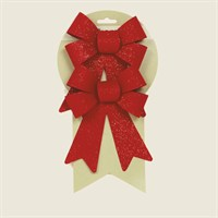 Premier Red Velvet Christmas Bows with Red Glitter (2 Pack) (AC136729)