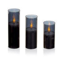 Premier Set 3 FlickaBright Grey Glass Christmas Candles (LB201346GY)
