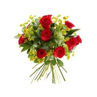 Red Rose & Bupleurum Cut Flower Handtied Bouquet