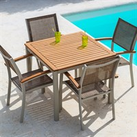 ScanCom Premium Collection Essence 4 Seat Square Outdoor Garden Furniture Dining Set
