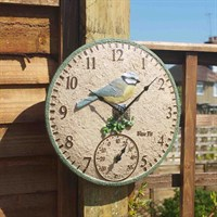 Outside In Blue Tit Wall Clock & Thermometer 12 Inch (5064003)