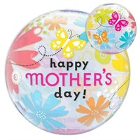 Treat Mum - Bubble Balloon Butterfly & Flowers Happy Mother's Day