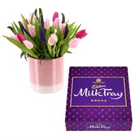 Special Offer - Tulip & Veronica Flower Arrangement & Milk Tray 360g Offer