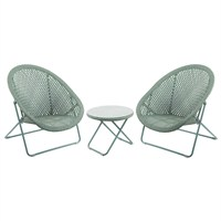 TOBS Faux Rattan Folding Lounge Set - Green (24505)