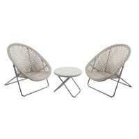 TOBS Faux Rattan Folding Lounge Set - Natural (23936)