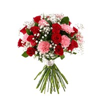 12 Roses & Carnations Cut Flower Handtied Bouquet