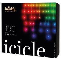 Twinkly 190 RGB LED App Controlled Smart Christmas Icicle Lights - Gen II (TWI190STP-TUK)