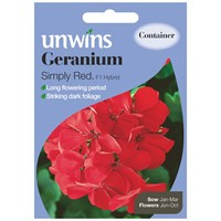 Unwins Seeds Geranium Simply Red F1 Hybrid (30210092)
