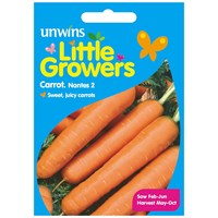 Unwins Seeds Little Growers Carrot Nantes 2 (30510005) Seeds for Kids