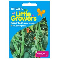 Unwins Seeds Little Growers Runner Bean Scarlet Emperor (30510025)