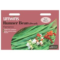 Unwins Seeds Runner Bean (Dwarf) Flamenco (31210037) Vegetable Seeds
