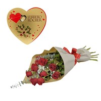Valentine's Day Gift - 12 Kisses Red Roses Hand Tied Sheaf & Ferrero Rocher Chocolates Offer