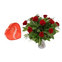 Valentine's Day Gift - 12 Long Stem Red Roses Hand Tied Bouquet & Lindt Lindor Chocolates Offer