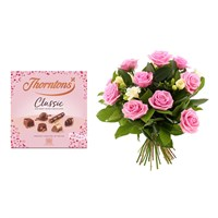 Valentine's Day Gift - Pink Roses & White Freesias Bouquet & Thorntons Classic Chocolates Offer