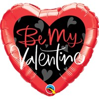 Valentine's Day Gifts - Balloon Foil Design - 'Be My Valentine' Red & Black Heart Shape (78537)