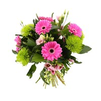 Pink & Green Vibrant Hand Tied Valentine's Day Bouquet