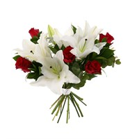 White Lilies & Red Roses Cut Flower Handtied Bouquet