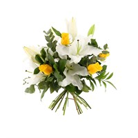 White Lilies & Yellow Roses Cut Flower Handtied Bouquet