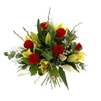 Red Roses, White Lilies & Orchids Hand Tied Valentine's Day Bouquet