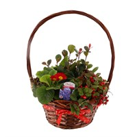 Wicker Basket Red Bow Large With Handle Christmas Outdoor Planter